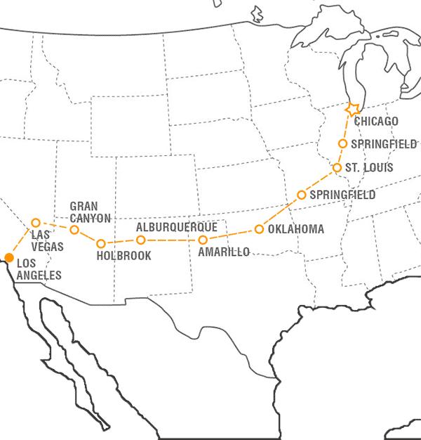 mapa de la Ruta 66 USA