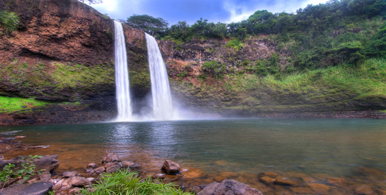 doble cascada en Kauai