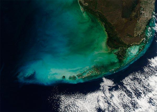 vista de satelite de Cayo Hueso y Miami
