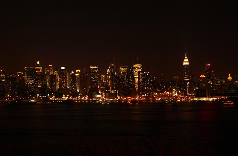 Foto nocturna de Nueva York